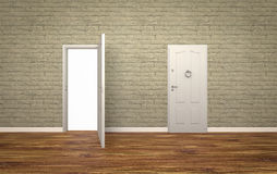 Door open on brick wall ,3d ,white background Royalty Free Stock Photo
