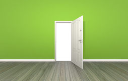 Door open on color wall ,3d Royalty Free Stock Photo