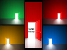 Door Open Light Red Blue Green Yellow Room Exit Set Royalty Free Stock Image