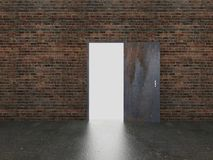Door open on old brick wall ,3d Royalty Free Stock Image