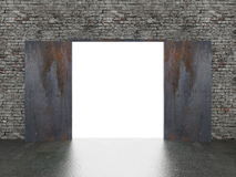 Door open on old brick wall ,3d Royalty Free Stock Photo