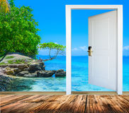 Door open palm beach Royalty Free Stock Photo