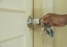 The door. Open the door to the room Stock Photo