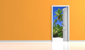 Door open on a tropical landscape Royalty Free Stock Photography