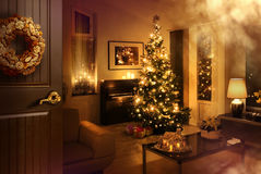 Door opened to Christmas feeling room Stock Image