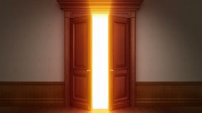 Door opening with chroma key Stock Photo