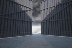 Door opening in dark room Stock Images