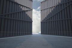 Door opening in dark room Royalty Free Stock Photography