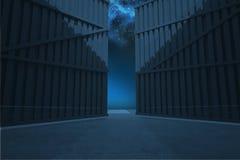 Door opening in dark room Royalty Free Stock Images