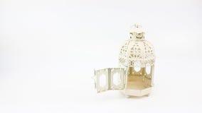 Door opening of decorate white metal lantern case Stock Image