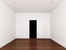 Door opening ,empty room,3d interior Royalty Free Stock Image