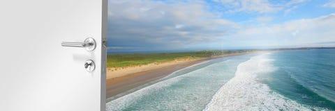 Door opening onto beach. Digital composite of Door opening onto beach royalty free stock photography