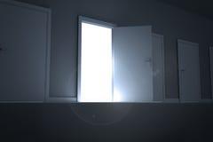 Door opening revealing light Royalty Free Stock Photos