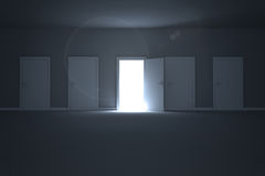 Door opening revealing light Royalty Free Stock Photography