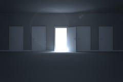 Door opening revealing light Royalty Free Stock Photography