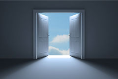 Door opening in room to show sky Royalty Free Stock Photo