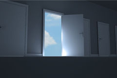 Door opening in room to show sky Stock Photography