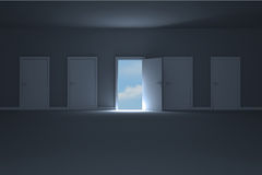 Door opening in room to show sky Royalty Free Stock Photography