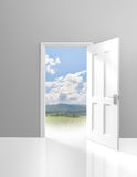 Door opening to an adventurous outdoor trip in the wild Royalty Free Stock Images