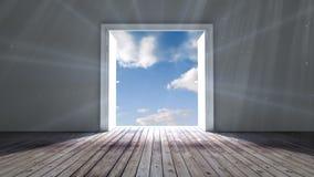 Door opening to blue sky stock footage