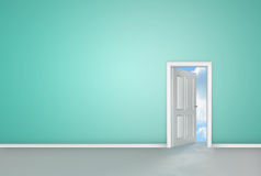 Door opening to reveal blue sky Stock Images