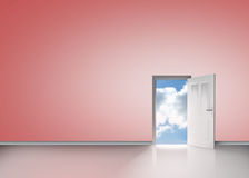 Door opening to reveal blue sunny sky. In pink room Royalty Free Stock Images