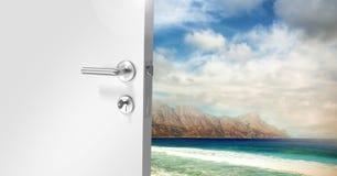 Door opening to sea. Digital composite of Door opening to sea royalty free stock images