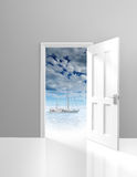 Door opening to vacation scenics and a relaxing yacht Stock Photo