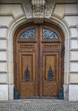 Door with ornament. Wooden door with ornaments and pattern royalty free stock images