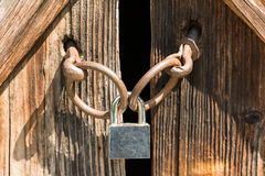 Door With Padlock Royalty Free Stock Photography