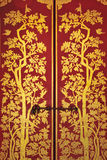 Door Painted on a Temple at wat phra kaew temple Royalty Free Stock Photo