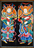 Door painting in chinese temple Royalty Free Stock Photo