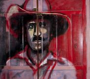 Door painted with Augusto Sandino. Door painting in COPINH center with  Augusto Sandino, La Esperanzq, Intibucá, Honduras. This artist painted him with a Royalty Free Stock Image