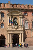 Door of Palace of Accursio in Piazza Maggiore of Bologna Italy Stock Image