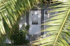 Door through palm leaves. Selective focus on door Royalty Free Stock Photography