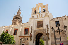 Door of the pardon. And cathedral of siviglia Royalty Free Stock Photography