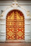 Door patterned. At temple Vientiane, Laos Stock Images