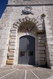 Door of peace (Pax). Doorway at Monte Cassino with the latin word for peace scribed on the archway stock photos