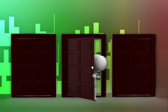 Door/ people and closed doors illustration Royalty Free Stock Image