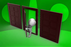 Door/ people and closed doors illustration Stock Images