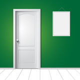 Door and photo frame on the wall Stock Photos