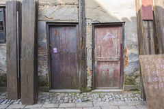 Door plank of small shops Royalty Free Stock Photos