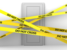 Door and police tape Stock Photo