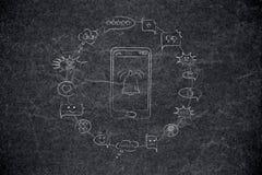 Door positief wordt omringd dat en negatieve telefoon met bericht comm vector illustratie