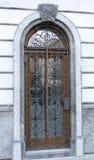 Door protected with iron lattice Stock Photos