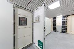 Door racks with equipment for telecommunications. Open door racks with equipment for telecommunications royalty free stock image