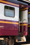 Door of railway carriage train. Door of red railway carriage train in Thailand Stock Photo