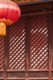 Door and red lantern of Chinese pagoda, Shanxi Province, China Stock Photo