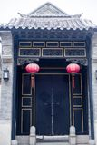 Door and red lanterns stock images