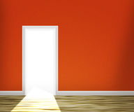 Door in the Red Wall Background Royalty Free Stock Photos